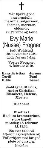 Evy Marie Frogner Dødsannonse