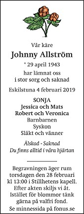 Johnny Allström Death notice