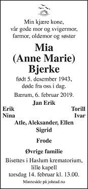 Anne Marie Bjerke Dødsannonse