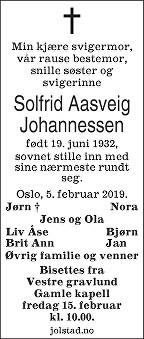 Solfrid Aasveig Johannessen Dødsannonse