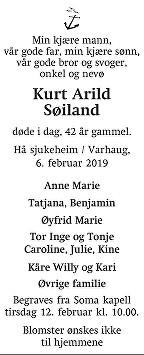 Kurt Arild Søiland Dødsannonse