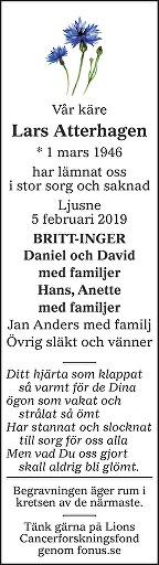 Lars Atterhagen Death notice