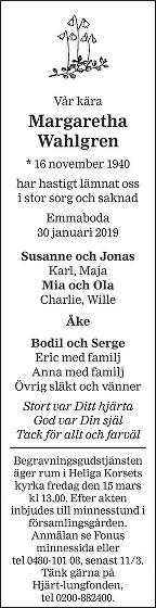 Margaretha Wahlgren Death notice