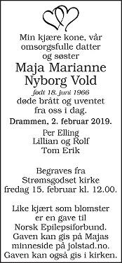 Maja Marianne Nyborg Vold Dødsannonse