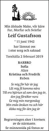 Leif Gustafsson Death notice
