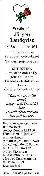 Jörgen Landqvist Death notice