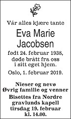 Eva Marie Jacobsen Dødsannonse