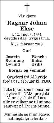 Ragnar Johan Ekse Dødsannonse