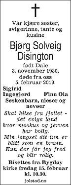 Bjørg Solveig Disington Dødsannonse