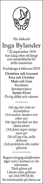 Inga Bylander Death notice