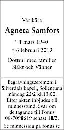 Agneta Samfors Death notice