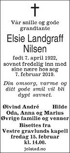 Elsie Landgraff Nilsen Dødsannonse