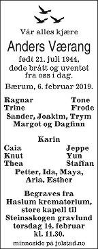 Anders Ragnar Værang Dødsannonse