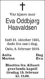 Eva Oddbjørg Haavaldsen Dødsannonse