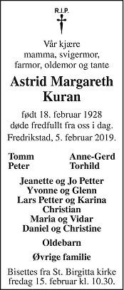 Astrid Margareth Kuran Dødsannonse