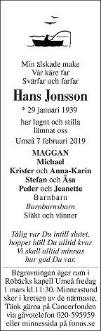 Hans Jonsson Death notice