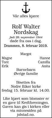 Rolf Walter Nordskag Dødsannonse