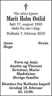 Marit  Holm Østlid Dødsannonse