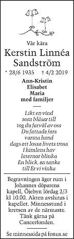 Kerstin Linnéa Sandström Death notice