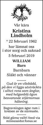Kristina Lindholm Death notice