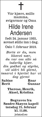 Hilde Irene Andersen Dødsannonse