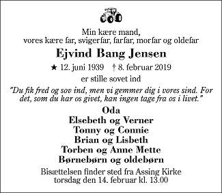 Ejvind Bang Jensen Death notice