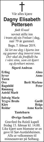 Dagny Elisabeth Pettersen Dødsannonse