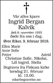 Ingrid Bergan Kalvik Dødsannonse