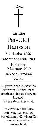 Per-Olof Hansson Death notice