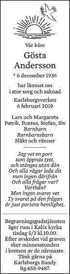 Gösta Andersson Death notice