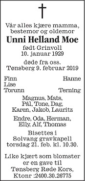 Unni Helland Moe Dødsannonse