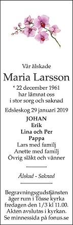 Maria Larsson Death notice