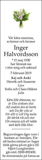 Inger Halvordsson Death notice