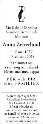 Anita Zetterlund Death notice