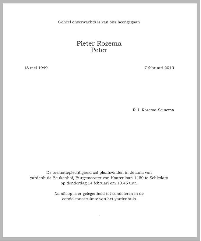 Peter Rozema Death notice