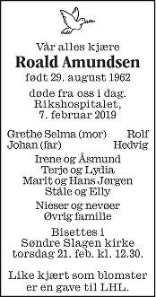 Roald Amundsen Dødsannonse