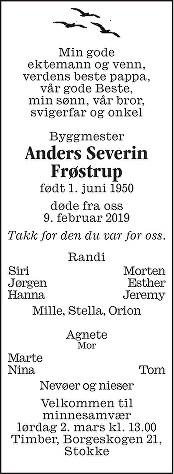 Anders Severin Frøstrup Dødsannonse