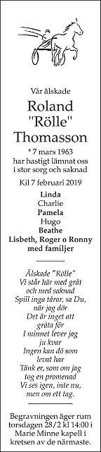 Roland Tomasson Death notice