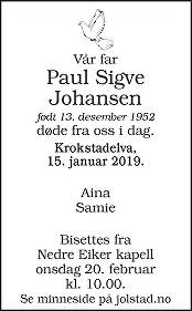Paul Sigve Johansen Dødsannonse