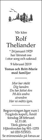 Rolf Theliander Death notice