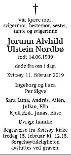 Jorunn Alvhild Ulstein  Nordbø Dødsannonse