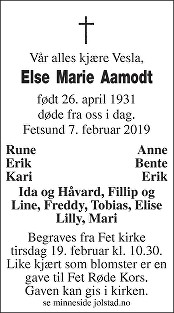 Else Marie Aamodt Dødsannonse