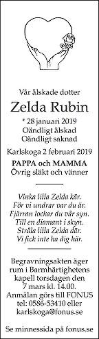 Zelda Rubin Death notice
