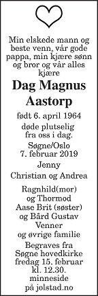 Dag Magnus Aastorp Dødsannonse