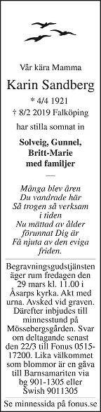 Karin Sandberg Death notice