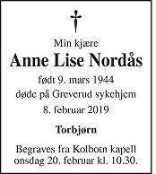 Anne Lise Nordås Dødsannonse