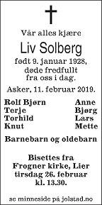 Liv Ingebjørg Solberg Dødsannonse