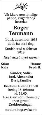 Roger  Tenmann Dødsannonse