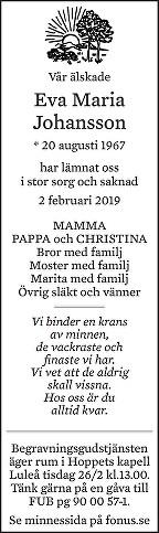 Eva Maria Johansson Death notice