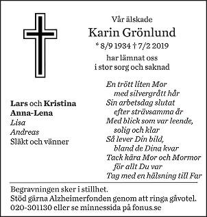 Karin Grönlund Death notice
